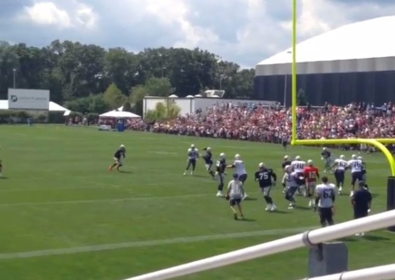 Revis' Pick Six on Brady in Practice. God I Can't Wait for the Season to Start.