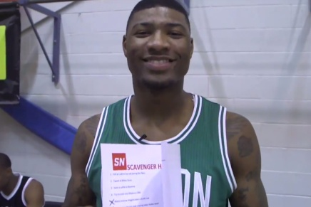 Marcus Smart Messing With Rookies for SportsNation