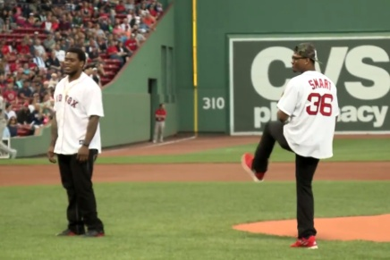 Marcus Smart and Dominique Easley Throw First Pitch at Fenway
