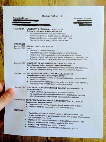 Here's Tom Brady's Resume Coming Out of Michigan, In Case That Football Thing Didn't Work